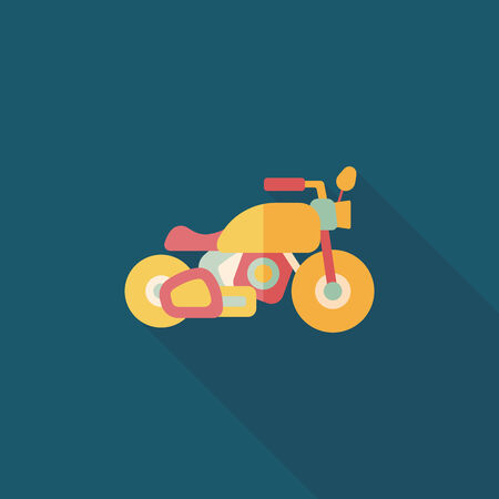 sports icon: Transportation motorcycle flat icon with long shadow,eps10 Illustration
