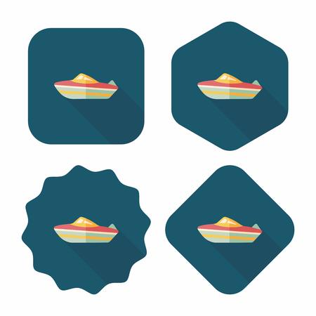 cruising: Nave Trasporti icona piatto con una lunga ombra, eps10