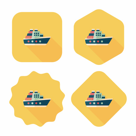 ferry: Transportation ferry flat icon with long shadow,eps10 Illustration