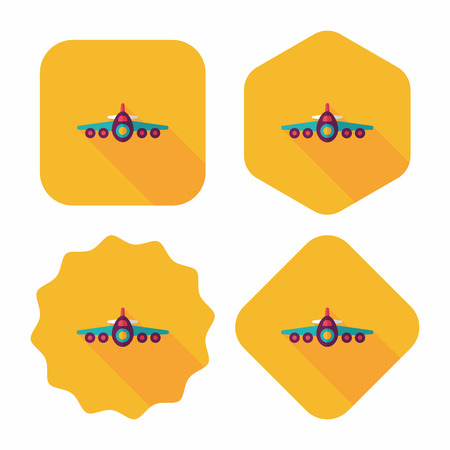 airplane icon: Transportation airplane flat icon with long shadow,eps10