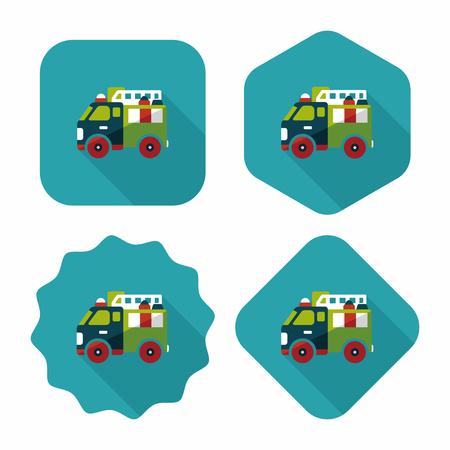 camion pompier: Camion de pompiers de transport ic�ne plat avec ombre, eps10