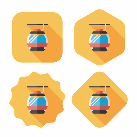 cable car: Transportation cable car flat icon with long shadow,eps10 Illustration