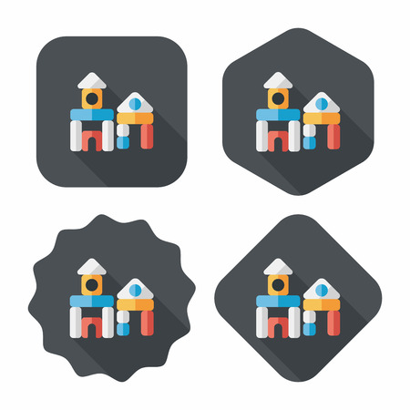 child's: brick house flat icon with long shadow