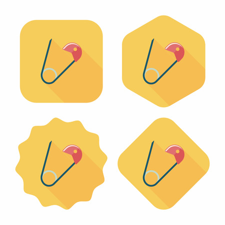 safety pin: Safety pin flat icon with long shadow,EPS 10 Illustration
