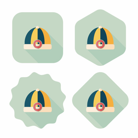 chinese hat: Chinese hat flat icon with long shadow,eps10