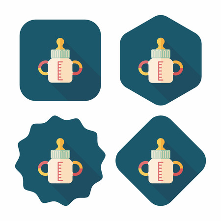 to reassure: Baby bottle flat icon with long shadow,EPS 10