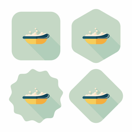 bathtime: baby bath baby flat icon with long shadow,eps10