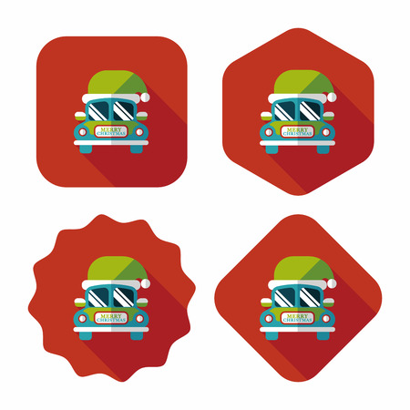 Christmas car flat icon with long shadow eps10 Vector