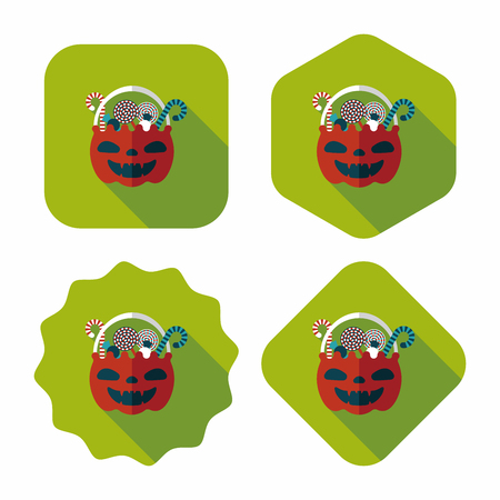 jack in the box: halloween candy flat icon with long shadow,eps10