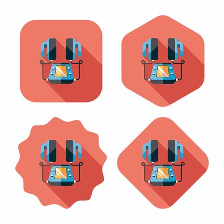 tachycardia: Coraz�n desfibrilador icono plana con larga sombra Vectores