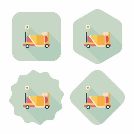 cama hospital: icono plana cama de hospital con una larga sombra Vectores