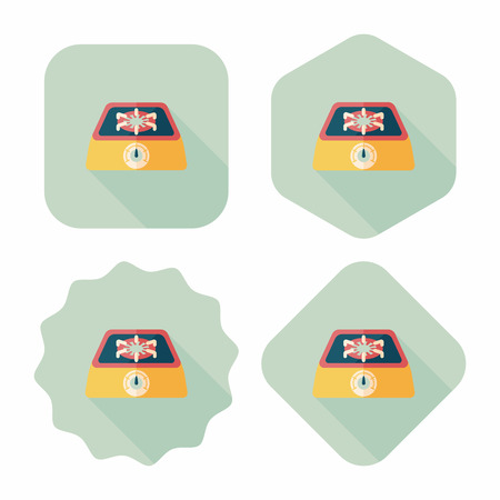 gas stove: Kitchenware gas stove flat icon with long shadow,eps10 Illustration