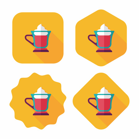 iced: iced floating coffee flat icon with long shadow,eps10 Illustration