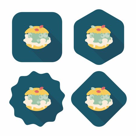 puff pastry: Cream puffs flat icon with long shadow,eps10