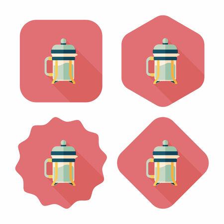 coffee maker: icono plana cafetera con larga sombra, eps10