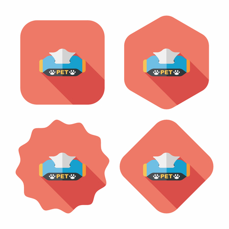 paper case: Pet style tissue case flat icon with long shadow,eps10