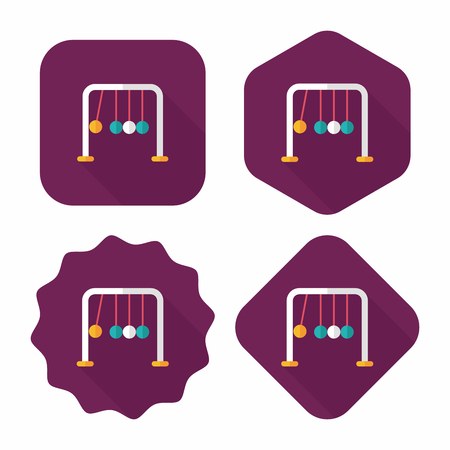 contrasts: Newtons Cradle flat icon with long shadow,eps10