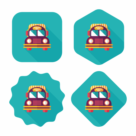 School Bus flat icon with long shadow,eps10 Vector