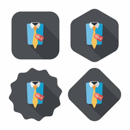 clothed: negozi vestito icona piatto con una lunga ombra, eps10