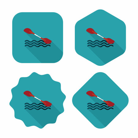 outboard: Boating paddle flat icon with long shadow, eps10 Illustration
