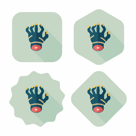 corpse: Halloween zombie hand flat icon with long shadow,eps10