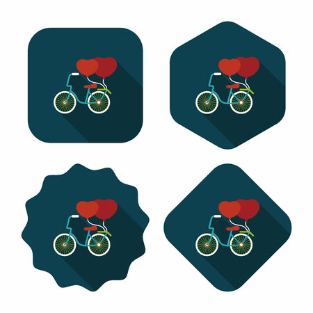 Valentines Day love heart couple riding bicycle flat icon with long shadow,eps10 Vector