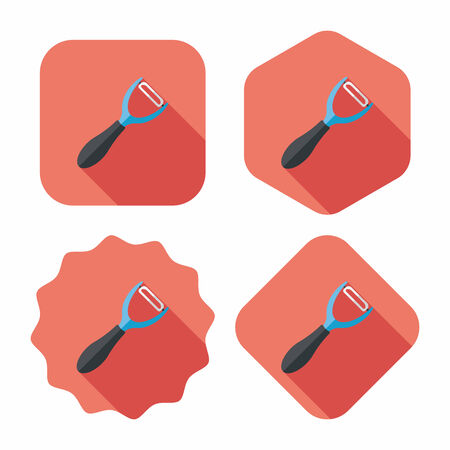peeler: kitchenware peeler flat icon with long shadow,eps10