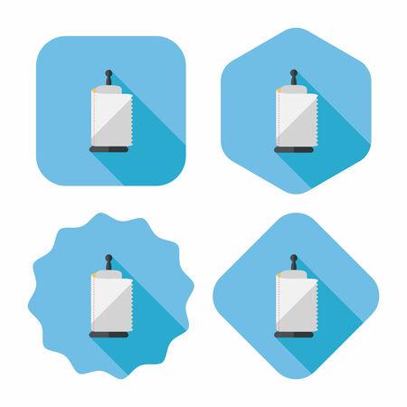 cocina limpieza: icono plana de papel de cocina con una larga sombra, eps10