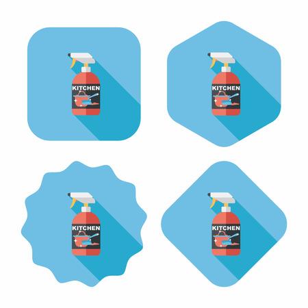 dish washing: stoviglie sapone bottiglia icona piatto con una lunga ombra, eps10 Vettoriali