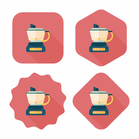 squeezer: kitchenware electric juicer flat icon with long shadow,eps10 Illustration