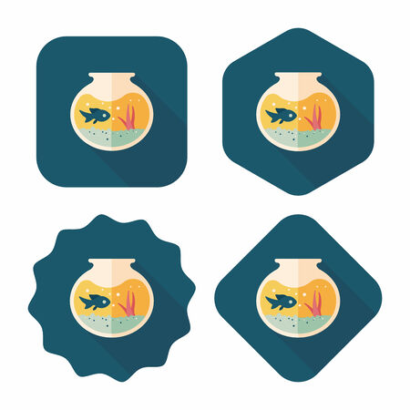 goldenfish: Pet fish bowl flat icon with long shadow,eps10 Illustration
