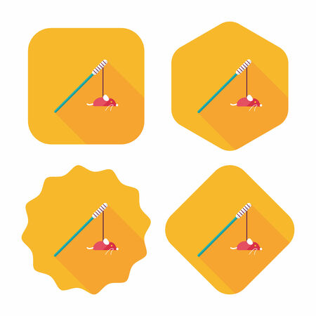 interested: Pet cat toy flat icon with long shadow,eps10