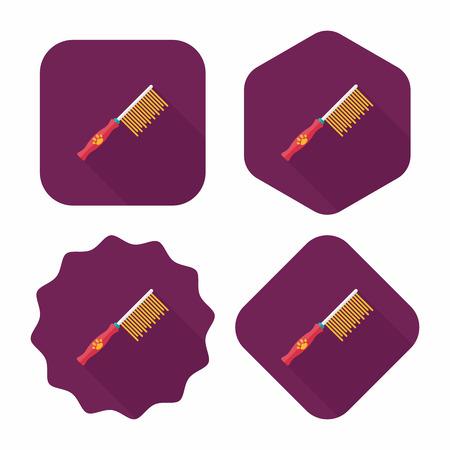 groomer: Pet dog brush flat icon with long shadow,eps10