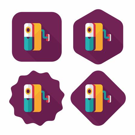 box cutter: Icono plana sacapuntas con larga sombra, eps10