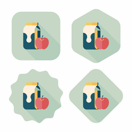 pasteurized: milk and apple flat icon with long shadow,eps10 Illustration