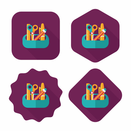 boîte de crayon icône plat avec ombre, eps10 Vecteurs