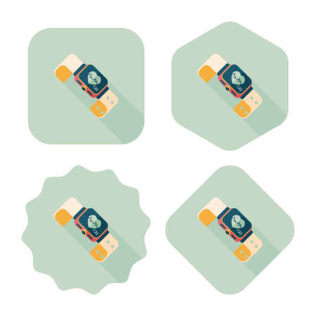 heart rate: heart rate sport-watch flat icon with long shadow,eps10 Illustration