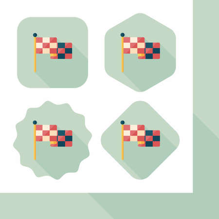 motorized sport: racing flags flat icon with long shadow,eps10 Illustration