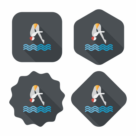 long jump: Jump Diving flat icon with long shadow,eps10