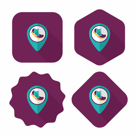 tagging: check into place when running flat icon with long shadow, eps10 Illustration