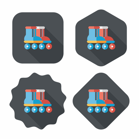 rollerskate: Roller skates flat icon with long shadow Illustration