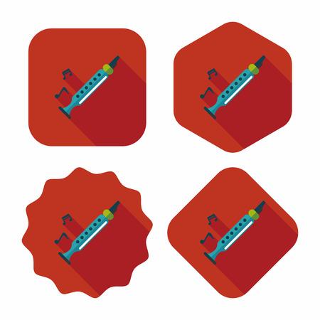 kunststoff rohr: Recorder Flach Symbol mit langen Schatten, eps10