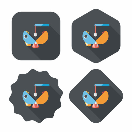spinner: Fishing toy flat icon with long shadow,eps10