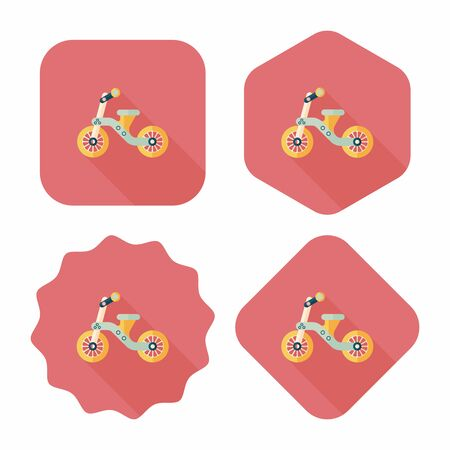 antique tricycle: Kids Tricycle flat icon with long shadow,eps10