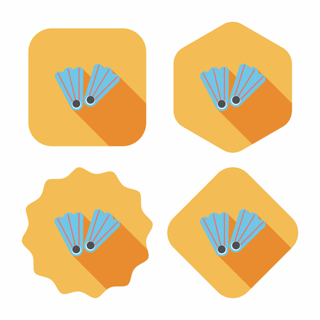 flippers for diving flat icon with long shadow