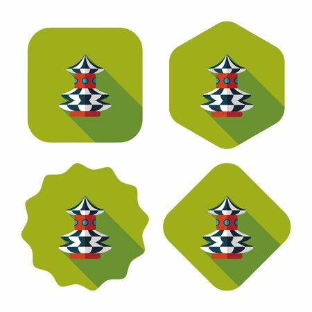 swing seat: dondolo giostra emozionante, icona piatto con una lunga ombra Vettoriali