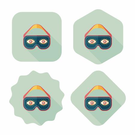 eye mask: eye mask, flat icon with long shadow