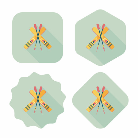 ski and sticks flat icon with long shadow Illustration