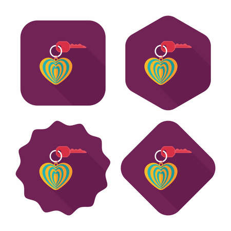 keyring: Valentines Day lover keychain flat icon with long shadow,eps10 Illustration