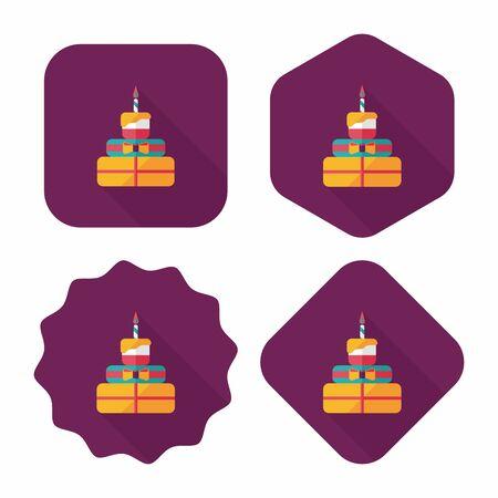 buttercream: torta di compleanno icona piatto con una lunga ombra, eps10